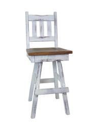 "Amish Farmhouse White Distressed 2-Tone Swivel Bar Stool 24"" or 30"" - Slat Back"