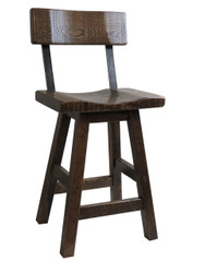 "Swivel Barnwood Bar Stool 24"" or 30"" - Saddle Seat with Back"