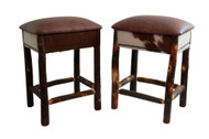 """Set of 2 Real Leather Seat and Hair on Hide Side Hickory Bar Stools 24"""" or 30"""" - Hair on Hide"""