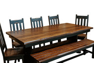 7 Piece Farmhouse Black Trestle Table Dining Set with a 2-Tone Finish