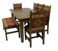 Rustic Barn wood Farmhouse Dining Table 7 Piece Set with Upholstered Bench
