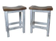 """Set of 2 -30"""" Distressed 2-Tone Barnwood Bar Stool Straight Leg Saddle Seat"""