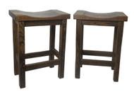 """Set of 2 -24"""" Barnwood Bar Stool Straight Leg Saddle Seats"""