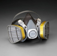 3M Half Face Respirator, Large, For Organic Vapor/Acid Gas, Cartridges attached
