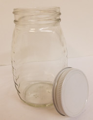Classic 8 oz. Glass Honey Jar, 24 jars per case with white metal lids