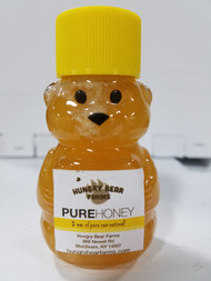 2 oz mini bear shown filled and labeled. Honey and label not included.