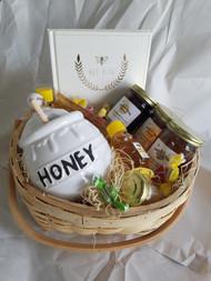 Seasonal Raw Honey Gift Basket with Honey Pot, Notebook & Comb Honey