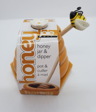 Golden Honey Pot w/ Bee Dipper