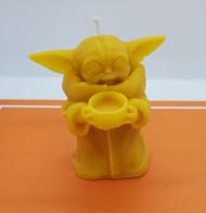 "Pure Beeswax Baby Yoda Candle, Grogu Candle, Mandalorian, Star Wars Candle, 3-1/2"" Tall"