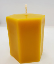 "Pure Beeswax Hexagon 3-1/2"" Pillar Candle, 100% Beeswax"