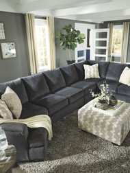 Eltmann Slate LAF Cuddler, Armless Loveseat, Armless Chair, RAF Sofa with Corner Wedge Sectional & Accent Ottoman