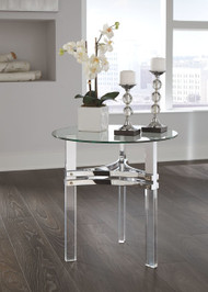 Braddoni Chrome Finish Round End Table