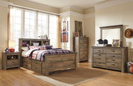 Trinell Brown 7 Pc. Dresser, Mirror, Chest & Full Bookcase Bed with Under Bed Storage