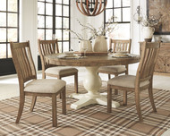Grindleburg Light Brown 7 Pc. Round DRM Table Top, 4 Upholstered Side Chairs & Server