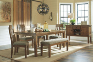 Flaybern Brown 6 Pc. Rectangular Extension Table, 4 UPH Side Chairs & Bench