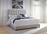 Contemporary Beige King Upholstered Bed