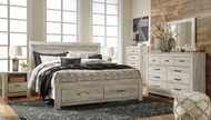 Bellaby Whitewash 7 Pc. Dresser, Mirror, Chest & King Panel Storage Bed