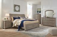 Lettner Light Gray 8 Pc. Dresser, Mirror, Chest, King Sleigh Bed & 2 Nightstands