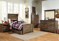 Trinell Brown 7 Pc. Dresser, Mirror, Chest & Twin Panel Bed with Trundle Storage Box