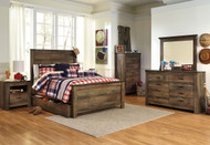 Trinell Brown 7 Pc. Dresser, Mirror & Full Panel Bed with Trundle Storage Box