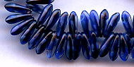3x11mm Dagger (aka Spearhead) Glass Drop Bead, Czech Glass, blue iolite (same as blue/black), (100 beads)