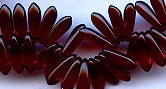 3x11mm Dagger (aka Spearhead) Glass Drop Bead, Czech Glass, dark garnet (same as garnet), (100 beads)