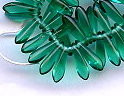 3x11mm Dagger (aka Spearhead) Glass Drop Bead, Czech Glass, emerald, (100 beads)
