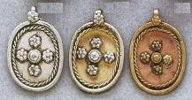 East Indian Metal Charm/Drop, 32mm, silver plated, oval with cross pattern, (4 pieces)