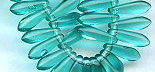 3x11mm Dagger (aka Spearhead) Glass Drop Bead, Czech Glass, green aqua, (100 beads)