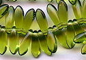 3x11mm Dagger (aka Spearhead) Glass Drop Bead, Czech Glass, dark olivine (same as olivine), (100 beads)