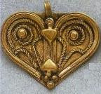 East Indian Metal Charm/Drop, Heart, 42mm, raw brass, (1 piece)