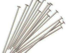 "Head Pin, Immitation Rhodium Plate (Nickel Color), 3/4"", Regular Thickness, 20 gauge, (1/4 oz - apprx 85 pc)"