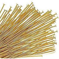 "Head Pin, Gold Plate, 1"", Regular Thickness, 20 gauge, (1/4 oz - apprx 69 pc)"