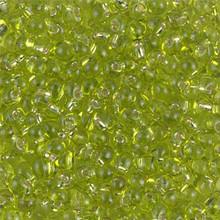 Miyuki Mini-Fringe-Drops (Roundish, Centered Top-Drilled Hole), 3.4mm, SKU 197034.MYDP34-0014, chartreuse silver lined, (1 28-30gr tube, apprx 560 beads)