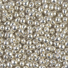 Miyuki Mini-Fringe-Drops (Roundish, Centered Top-Drilled Hole), 3.4mm, SKU 197034.MYDP34-0181, galvanized silver, (1 28-30gr tube, apprx 560 beads)