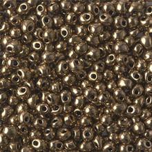 Miyuki Mini-Fringe-Drops (Roundish, Centered Top-Drilled Hole), 3.4mm, SKU 197034.MYDP34-0457, metallic bronze, (1 28-30gr tube, apprx 560 beads)