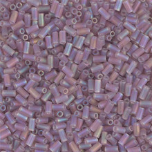 Japanese Miyuki Bugle Beads, size #1 (3mm), SKU 199000.BGL1-0142FR, matte light amethyst ab, (1   20-25 gram tube, apprx 2500 beads)
