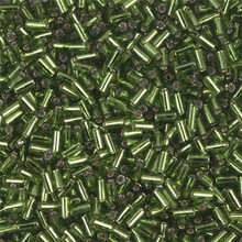 Japanese Miyuki Bugle Beads, size #1 (3mm), SKU 199000.BGL1-0026, olive green silver lined, (1   20-25 gram tube, apprx 2500 beads)
