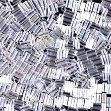 Japanese Miyuki Bugle Beads, size #1 (3mm), SKU 199000.BGL1-0250 (was 0054), crystal AB, (1   20-25 gram tube, apprx 2500 beads)