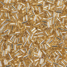 Japanese Miyuki Bugle Beads, size #1 (3mm), SKU 199000.BGL1-0003, gold silver lined, (1   20-25 gram tube, apprx 2500 beads)