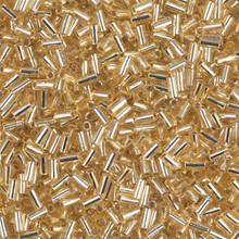 Japanese Miyuki Bugle Beads, size #1 (3mm), SKU 199000.BGL1-0003, gold silver lined, (1   20-25 gram tube, apprx 2500 beads)