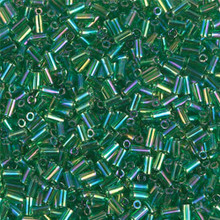 Japanese Miyuki Bugle Beads, size #1 (3mm), SKU 199000.BGL1-0179, transparent green ab, (1   20-25 gram tube, apprx 2500 beads)