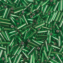 Japanese Miyuki Bugle Beads, size #2 (6mm), SKU 189002.BGL2-0016 (was 0065), green silver lined, (1   20-25 gram tube, apprx 1000 beads)