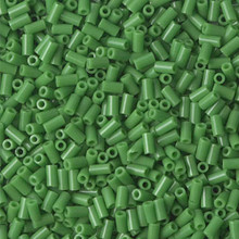 Japanese Miyuki Bugle Beads, size #1 (3mm), SKU 199000.BGL1-0411, opaque green, (1   20-25 gram tube, apprx 2500 beads)