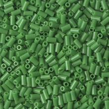 Japanese Miyuki Bugle Beads, size #1 (3mm), SKU 199000.BGL1-0411, opaque green, (1   20-25 gram tube, apprx 2500 beads)