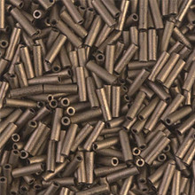 Japanese Miyuki Bugle Beads, size #2 (6mm), SKU 189002.BGL2-2006, matte metallic dark bronze, (1   20-25 gram tube, apprx 1000 beads)