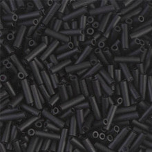 Japanese Miyuki Bugle Beads, size #2 (6mm), SKU 189002.BGL2-0401F, matte black, (1   20-25 gram tube, apprx 1000 beads)