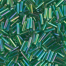 Japanese Miyuki Bugle Beads, size #2 (6mm), SKU 189002.BGL2-0179, transparent green ab, (1   20-25 gram tube, apprx 1000 beads)