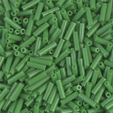 Japanese Miyuki Bugle Beads, size #2 (6mm), SKU 189002.BGL2-0411, opaque green, (1   20-25 gram tube, apprx 1000 beads)