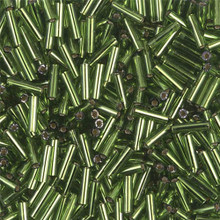 Japanese Miyuki Bugle Beads, size #2 (6mm), SKU 189002.BGL2-0026, olive green silver lined, (1   20-25 gram tube, apprx 1000 beads)